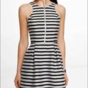 Black and White Striped Zip Front Dress -NWT